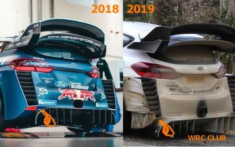 Сравнение аэродинамики Ford Fiesta WRC 2019 с вариантом для Ралли Финляндии 2018