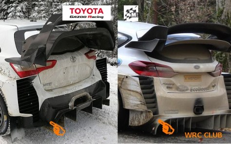Сравнение задней аэродинамики Ford Fiesta WRC 2019 и Toyota Yaris WRC