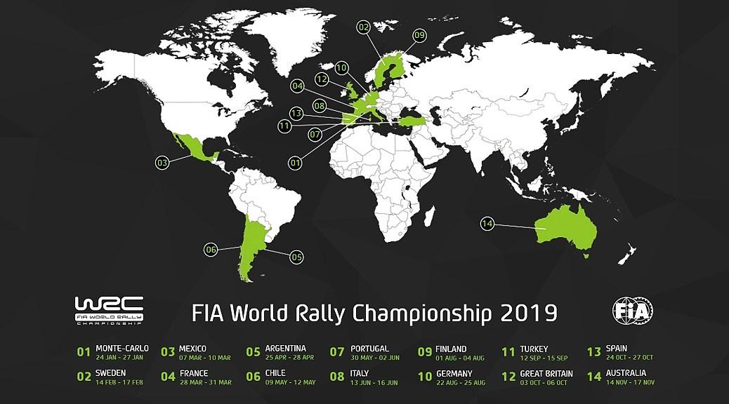 Карта Чемпионата мира по ралли 2019