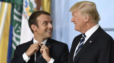 Mandatory Credit: Photo by DANIEL KOPATSCH/EPA/REX/Shutterstock (8911661ur) Emmanuel Macron and Donald J. Trump G20 Summit in Hamburg, Germany - 07 Jul 2017 French President Emmanuel Macron (L) and US President Donald J. Trump (R) before the family picture on the opening day of the G20 summit in Hamburg, Germany, 07 July 2017. The G20 Summit (or G-20 or Group of Twenty) is an international forum for governments from 20 major economies. The summit is taking place in Hamburg 07 to 08 July 2017.