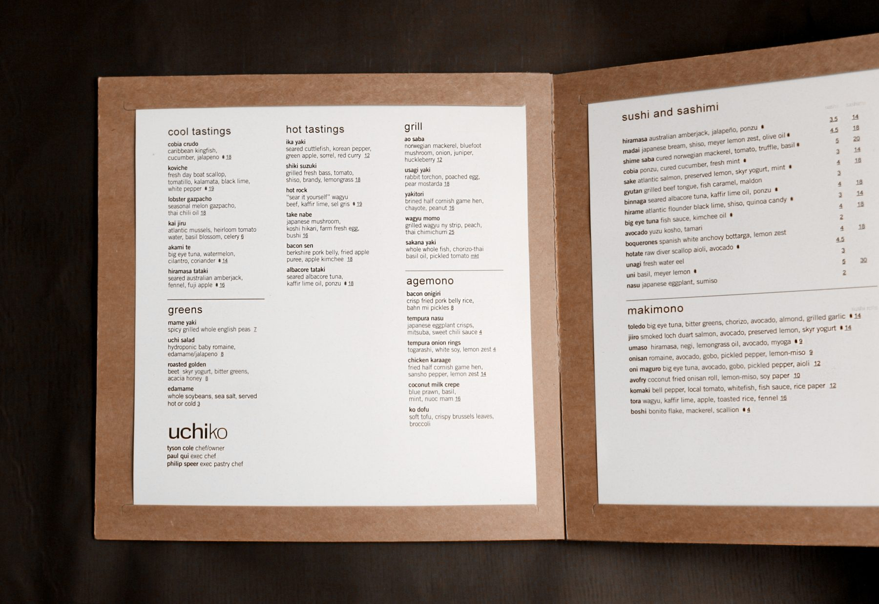 Uchi menu design