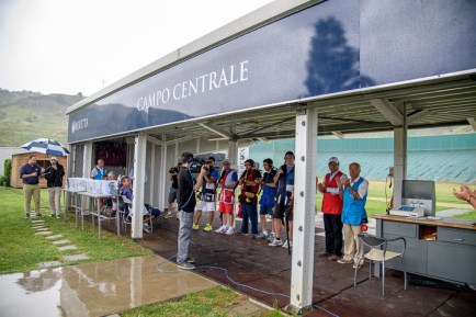 SAN MARINO - JUNE 4: Athletes' presentation in the Trap Men Finals at the Shooting Range during Day 2 of the ISSF World Cup Shotgun on June 4, 2016 in San Marino. (Photo by Nicolo Zangirolami)