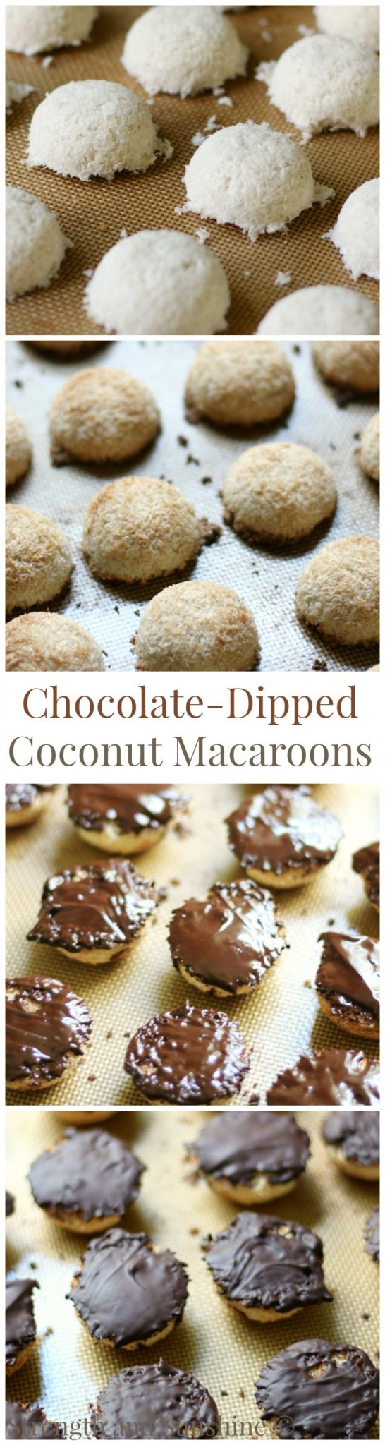 Chocolate-Dipped Coconut Macaroons | Strength and Sunshine @RebeccaGF666 A sweet and fancy treat for any occasion! Chocolate-Dipped Coconut Macaroons are a delicious and easy, gluten-free, vegan, paleo, and allergy-free dessert recipe. Everyone will be wowed by this healthy coconut and chocolate bite!