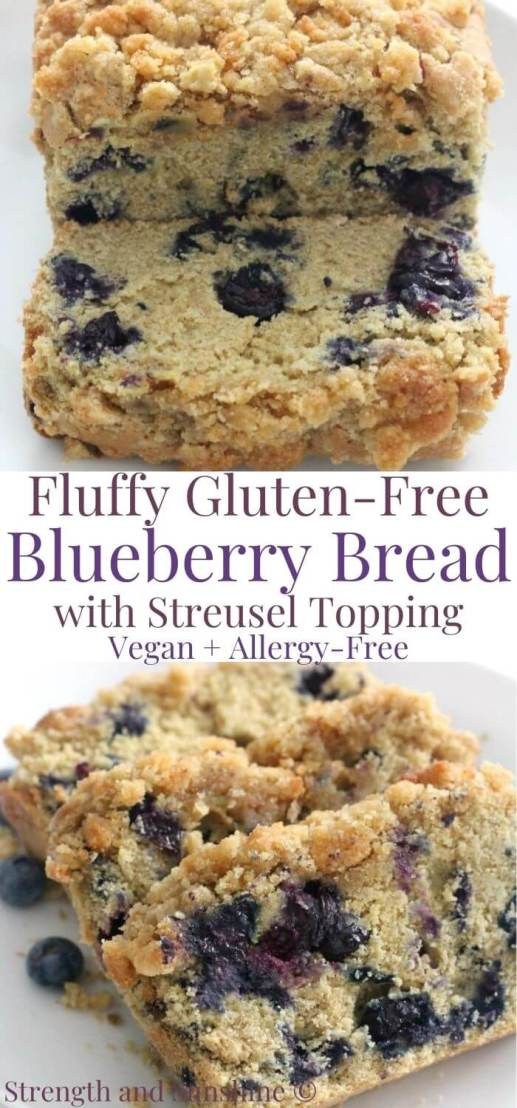 collage image of gluten-free blueberry bread with image text in middle