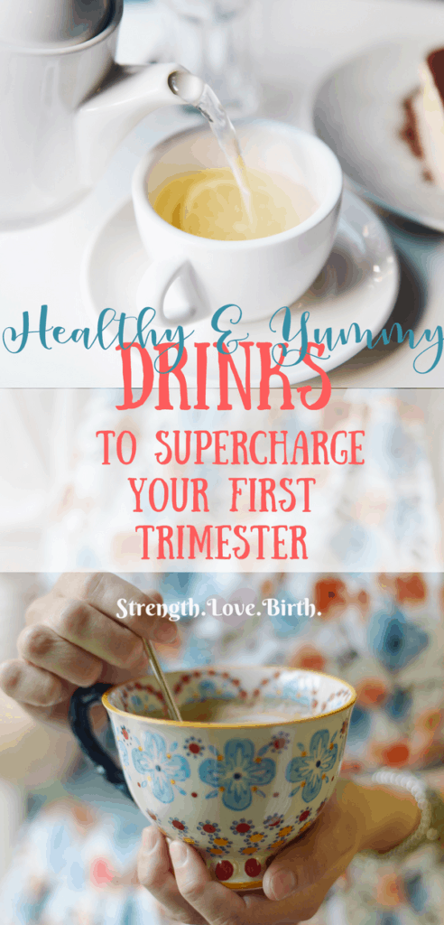 Woman holding a teacup with a healthy drink for first trimester pregnancy