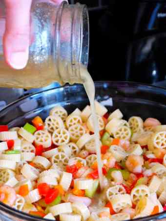 Shrimp Pasta Salad + easy cleanup with ocelo™ No-Scratch Scrub Sponges