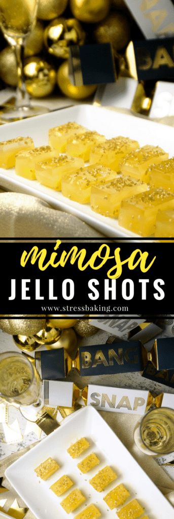 Mimosa Jello Shots: Your favorite brunch cocktail turned dessert! Bubbly champagne and fresh orange juice combine with the old college favorite, jello shots, for a classy 21+ party snack. | stressbaking.com