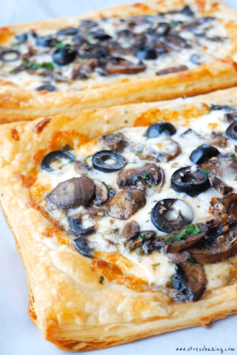 Easy Puff Pastry Pizza: A super easy way to satisfy a pizza craving when you're low on time or dough: Puff pastry steps in as the crust, and the rest is totally up to you! | stressbaking.com