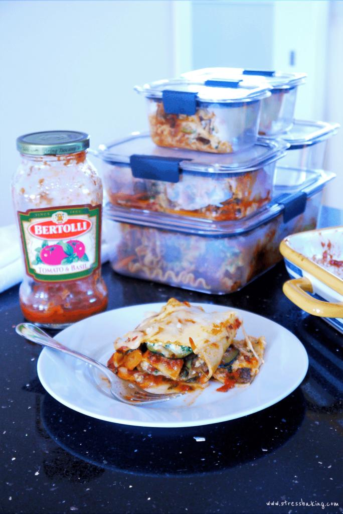 Rubbermaid® Brilliance™ Premium Food Storage Containers, Bertolli® Tomato & Basil Sauce, Veggie Lasagna