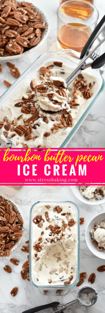 Bourbon Butter Pecan Ice Cream: Light, soft vanilla ice cream with a hint of bourbon flavor and loaded with buttery, sweet, roasted pecans. This ice cream is for adults only - sorry, kids! | stressbaking.com #icecream #boozydessert #boozy #butterpecan