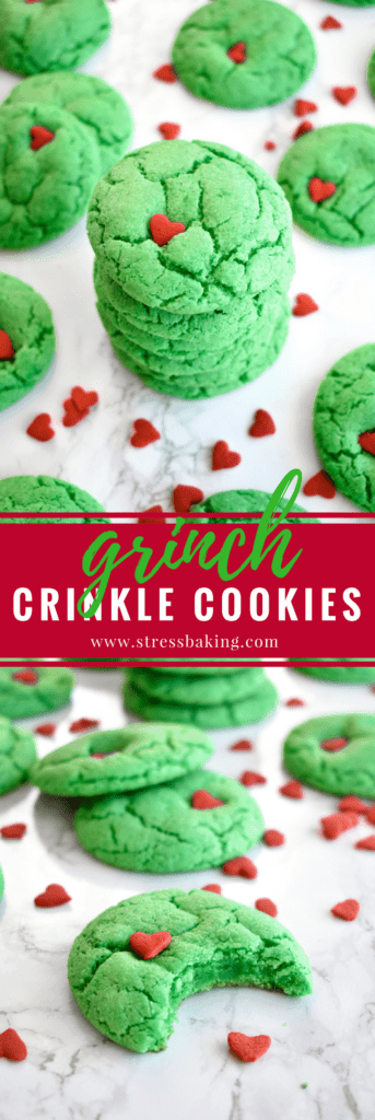 Grinch Crinkle Cookies: Festive, cakey cookies that bear a strong resemblance to a certain Christmas Grinch! | stressbaking.com