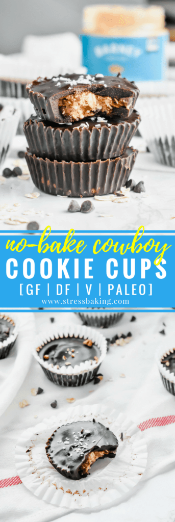 Paleo No-Bake Cowboy Cookie Cups: These cookie cups are like an almond butter cup and a cowboy cookie had a baby. Chewy oats, coconut and crunchy pecans are coated in smooth chocolate for a no-bake, no refined sugar, no gluten, no dairy dessert! | stressbaking.com #stressbaking #cowboycookies #cookiecups #nobake #nobakedessert #dessert #almondbutter #paleo #glutenfree #refinedsugarfree #dairyfree #vegan