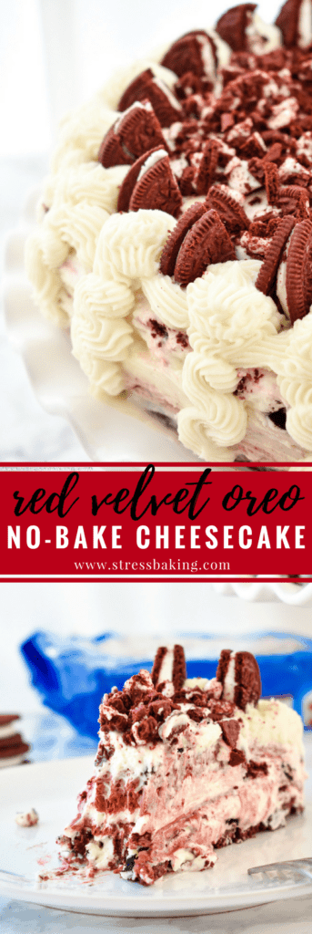 Red Velvet Oreo No-Bake Cheesecake: Supremely rich and creamy cheesecake filled with red velvet and Oreo flavors atop a Red Velvet Oreo crust. No baking required! | stressbaking.com #stressbaking #redvelvet #cheesecake #oreo #nobake #dessert #valentinesday