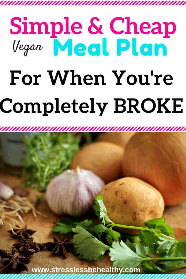 Need a cheap vegan meal plan that won't break your families budget? Check out this affordable meal plan AND learn how to to eat cheap meals on a vegan diet! Includes a shopping list and more ideas on how to save money!