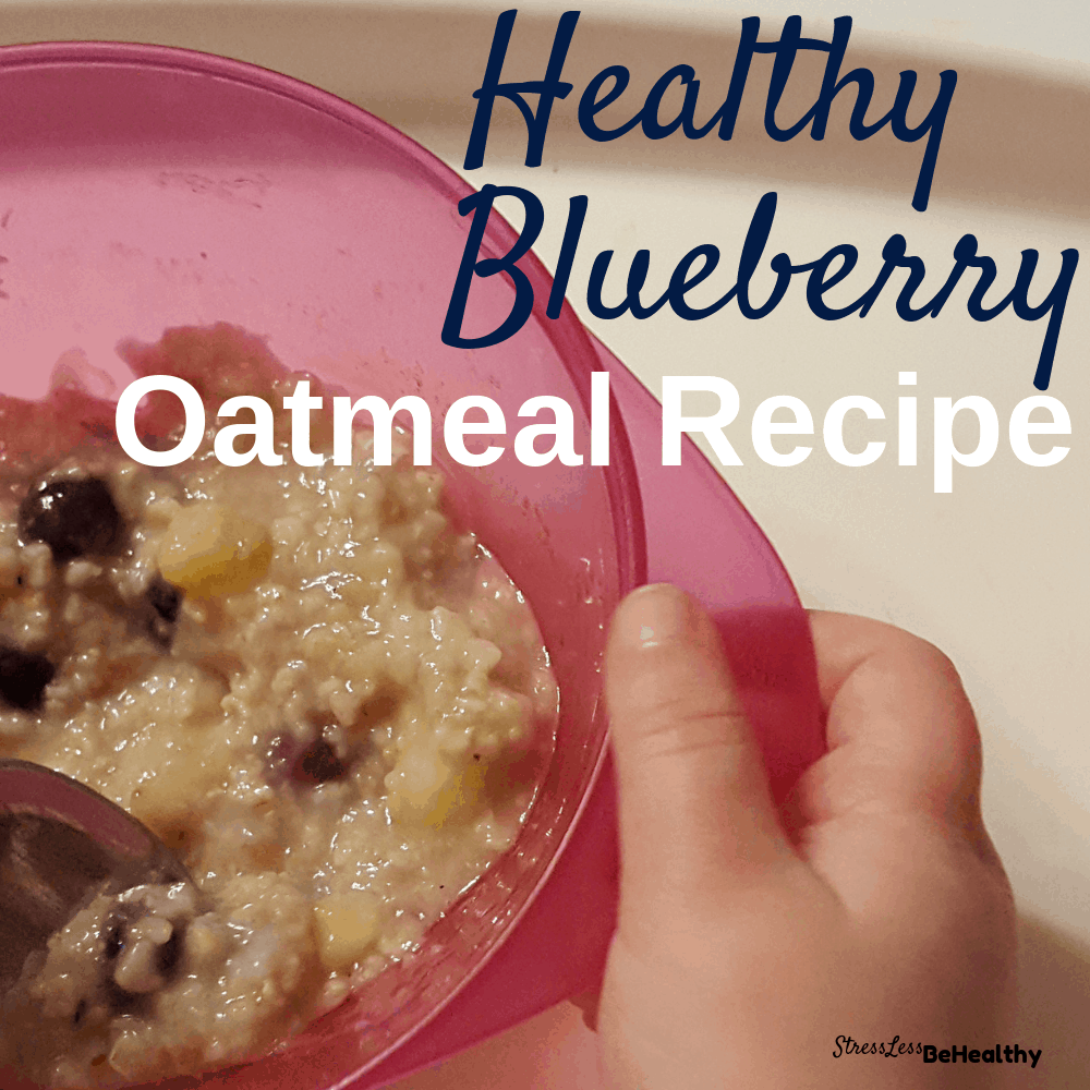 Looking for a quick and healthy homemade recipe for breakfast that your kids won't refuse? You have got to try this blueberry oatmeal! It's 100% plant based and so delicious you may need to double the recipe! #blueberry #blueberries #oatmeal #veganrecipes #healthyrecipes #stresslessbehealthy