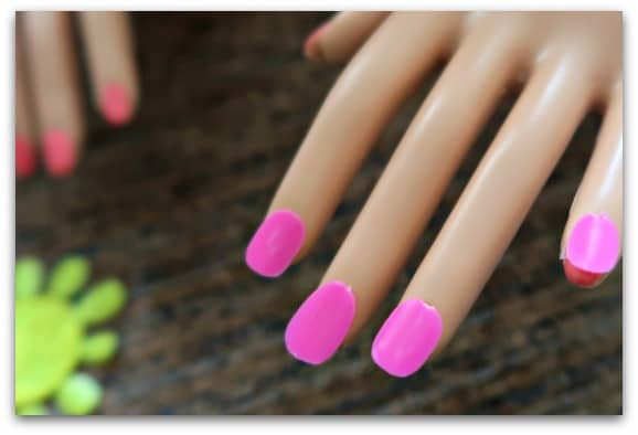 With the Barbie Flip and Reveal Deluxe Styling Head you can use the stick on nails to make Barbie's nails extra glam