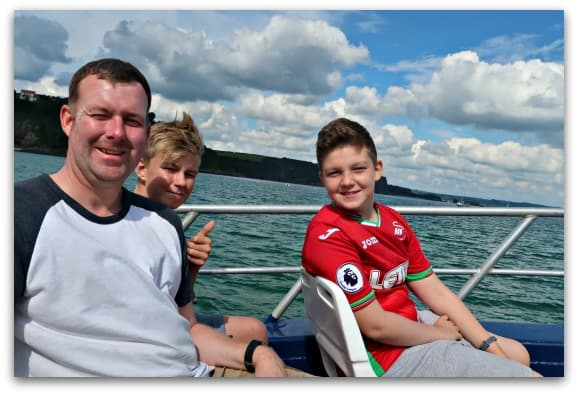 Chilling out of the boat on the Seal Safari from Tenby
