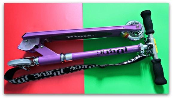 JD Bug Classic Street 120 Matt Purple Foldable Scooter from Skates.co.uk Folded