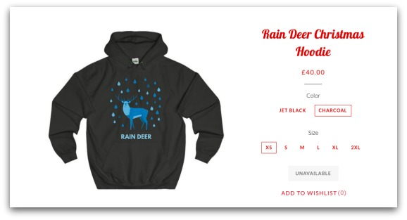 Rain Deer Christmas Hoodie from Jolly Christmas Jumper