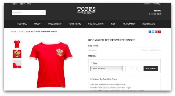 TOFFS KIDS WALES T-SHIRT