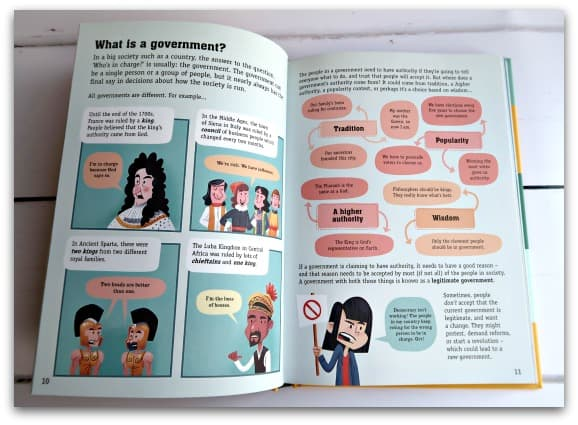 All of the information in Usborne's Politics for Beginners is illustrated with clear colourful infographic style illustrations