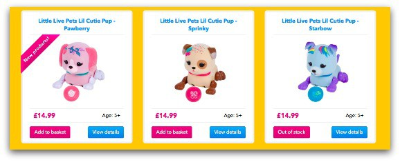 Little Live Pets Cutie Pups are available in single packs