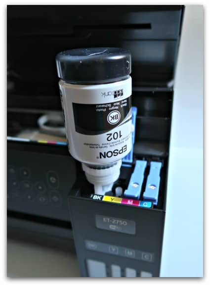Refilling the Epson EcoTank ET-2750 is really easy and mess free