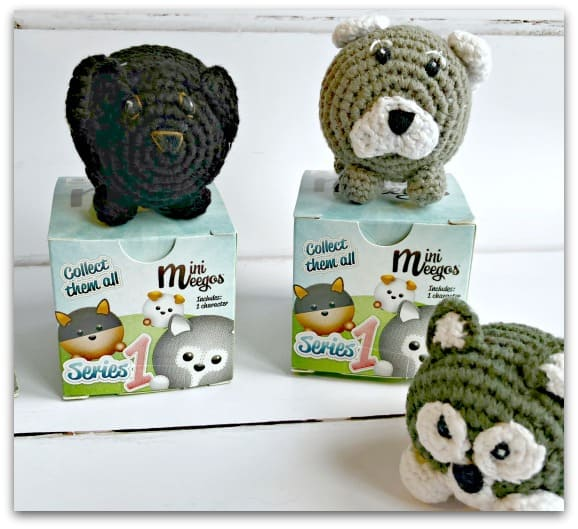 Mini Meegos come in blind boxes and they are cute hand crocheted two inch pups