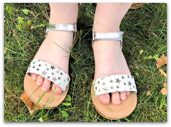 TKD Girls Leather Star Print Sandals