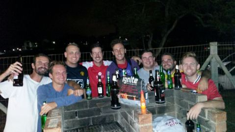 Manchester United fans in South Africa enjoying a few beers