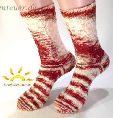 gestrickte Socken Muster Gundel Kaffeebohne Wolle Tausendschön Halbstarkter 9/16 rosenstolz