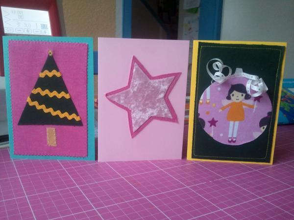 Genähte Weihnachtskarten