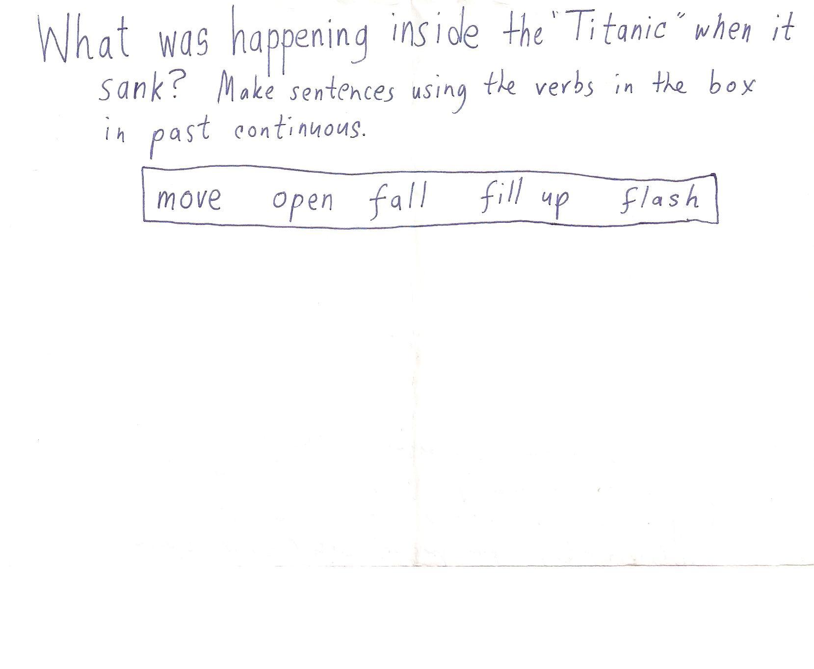 Titanic Past Continuous Lesson Kids