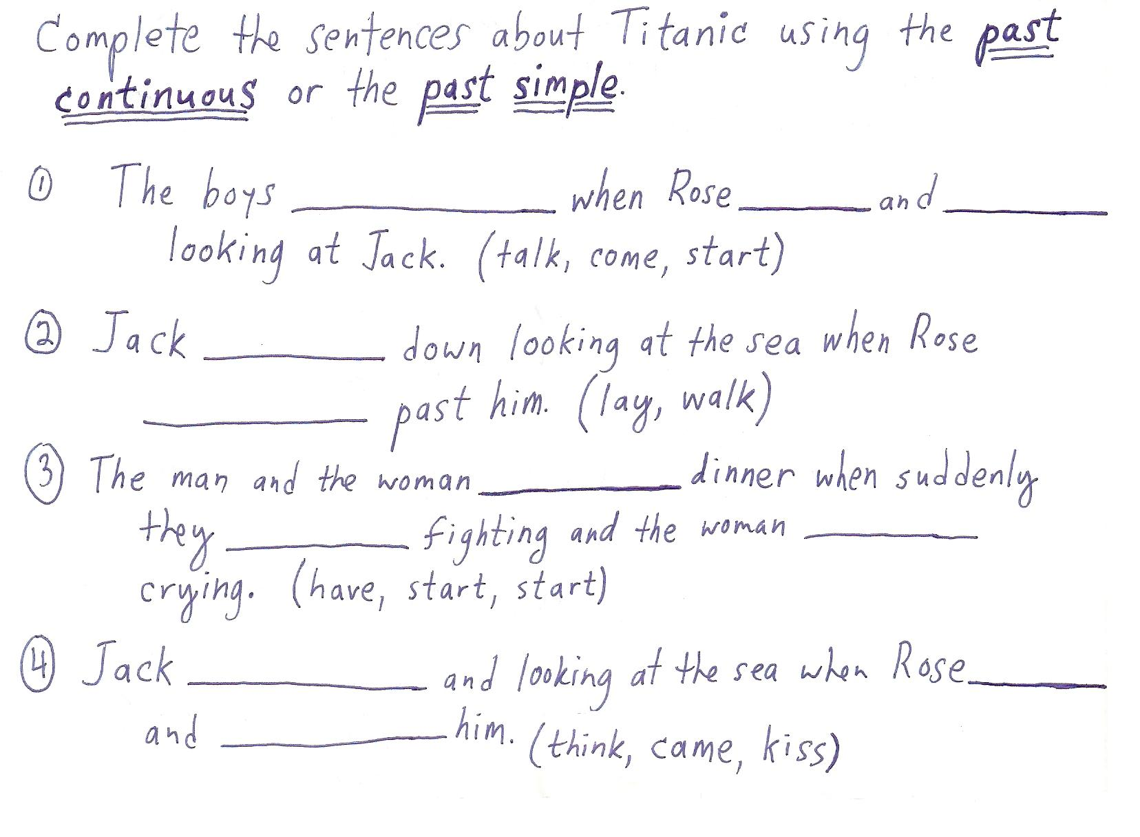 Past Continuous Tense Worksheets Free