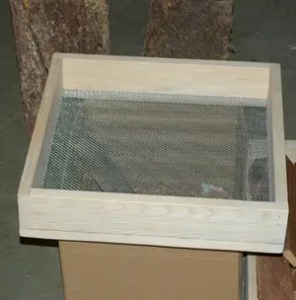 Stainless Steel and Cedar Herb Rubbing Screen, coarse mesh