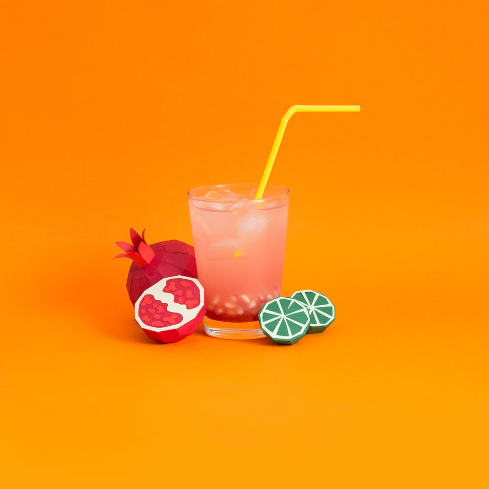 Fresh Drinks: Tropical Paper Craft Ingredients by Rendi Studio - Pomegranate + Lime