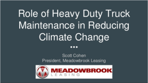Heavy Duty Truck Maintenance in Reducing Climate Change