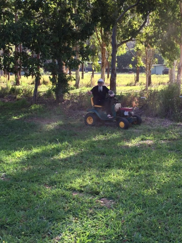 Magical M, zooming around Strigidae, showing off his mower-fixing prowess! We soooo appreciate this fella!