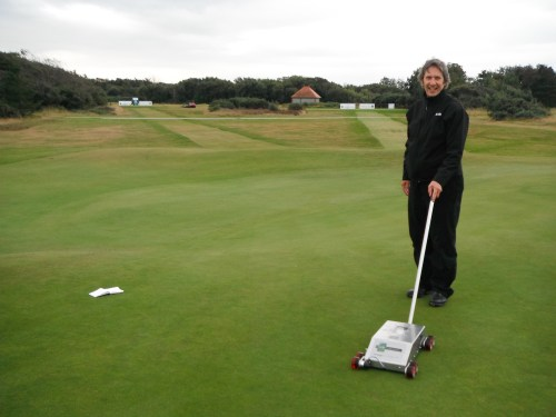 Stuart Ormondroyd with the STRI Trueness Meter