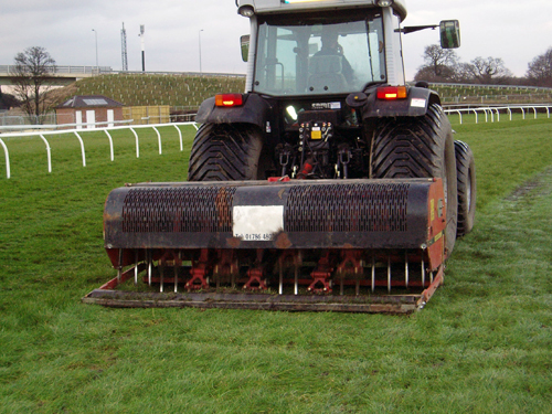 Verti-draining at Wetherby racecourse