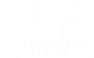 Strike A Light logo – in white