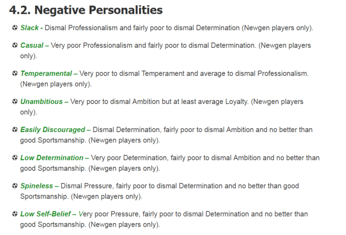 Courtesy of http://www.guidetofootballmanager.com/players/player-personalities
