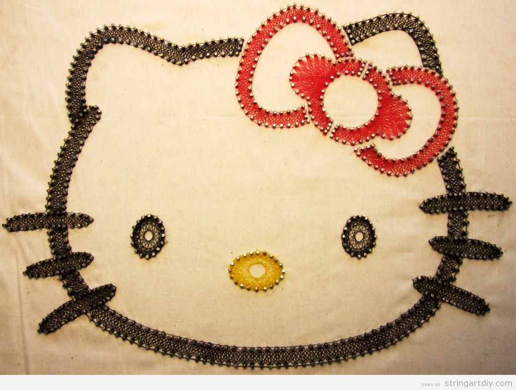 hello kitty string art diy string art diy free. Black Bedroom Furniture Sets. Home Design Ideas