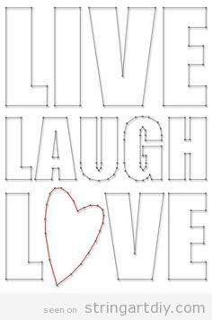 live laugh love string art free pattern string art diy. Black Bedroom Furniture Sets. Home Design Ideas