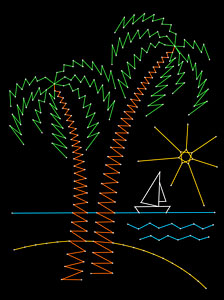 Palm trees pattern added at String Art Fun website