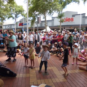 String Loaded busking with dancing kids