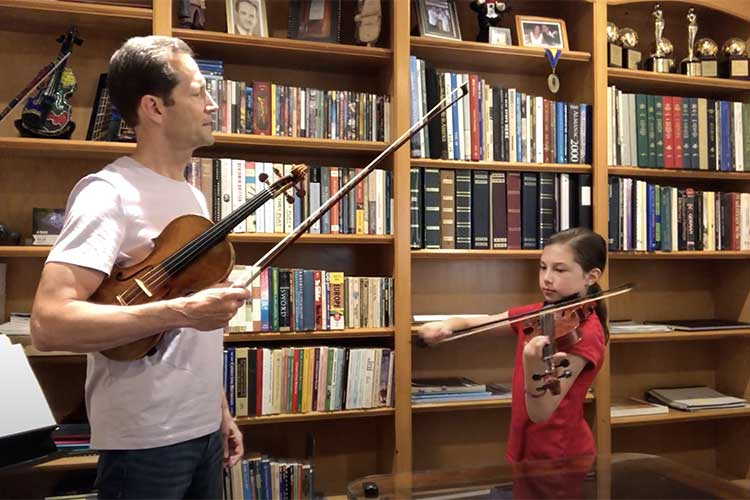 "YSO maestro Lawrence Golan and his daughter, Giovanna, in a special video for patrons as part of their ""Offstage"" series, courtesy of YSO"
