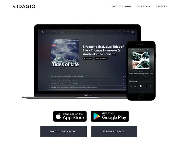 IDAGIO streaming service website and app
