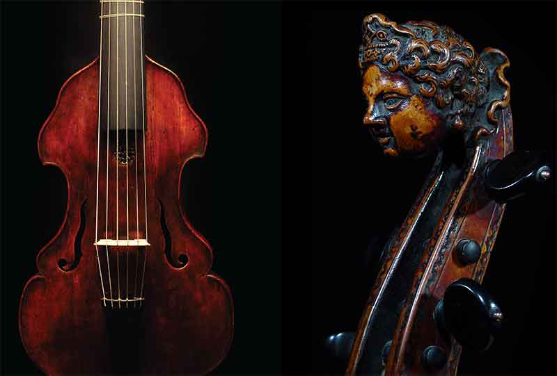 Head of a pardessus de viole (left) • ca. 1730 treble viola da gamba (right)