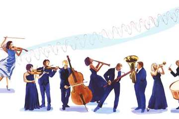 illustration of violinst projecting sound over an orchestra